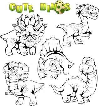 Set of funny dinosaurs