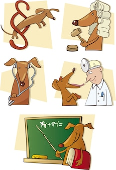 Set of funny dog in different situations