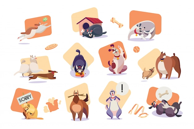 Set of funny dog icons, cute pet cartoon character vector illustration