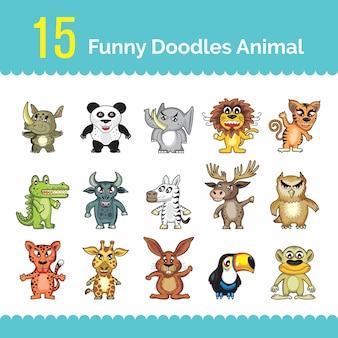 Set of funny doodles animal