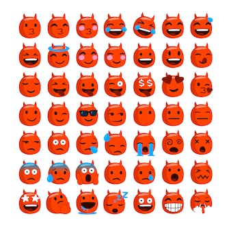 Set of funny emojis with devil face.