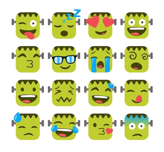 Set of funny emojis with monster frankenstein's face