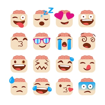 Set of funny emojis with zombie face