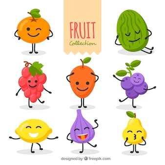 Set of funny fruit characters