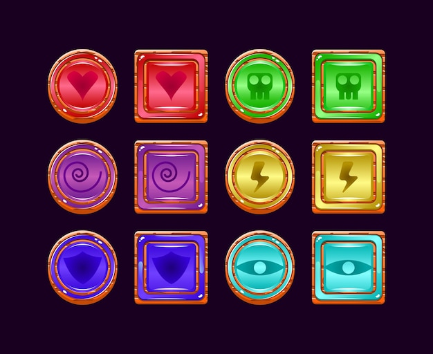 Set of funny game ui wooden jelly magic power up