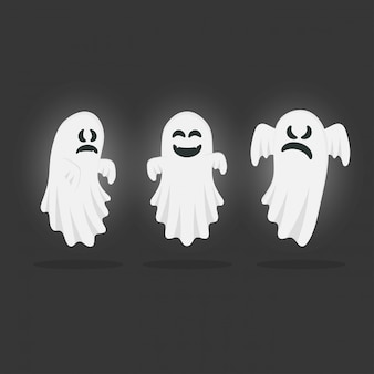 Set of funny ghosts. happy halloween