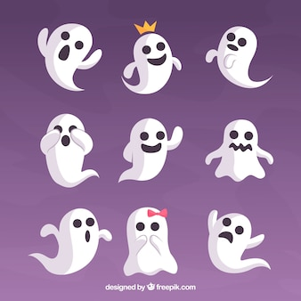 Set of funny ghosts