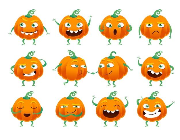 Set of funny halloween pumpkins