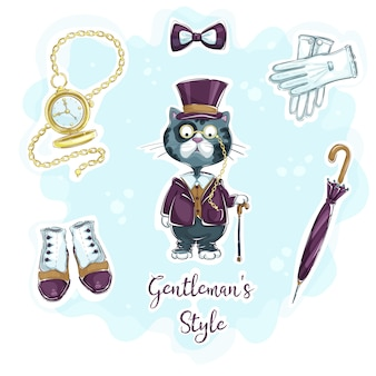 Set of funny hand drawing stickers for retro gentleman style.