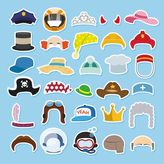 Set of funny hats and caps