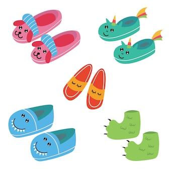Set of funny kids pajama slippers