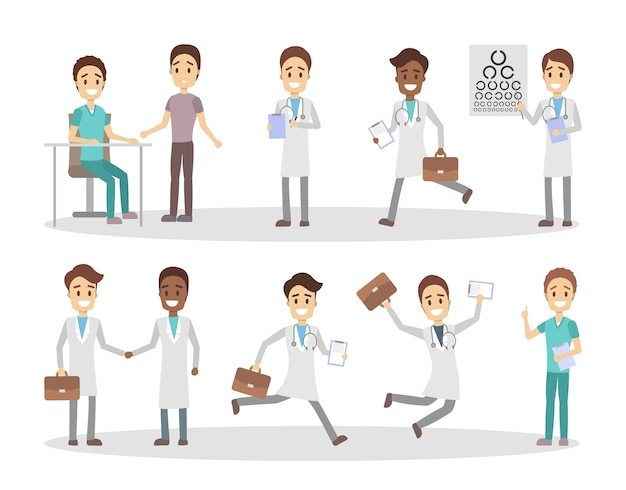 Set of funny male doctor and nurse characters with various poses, face emotions and gestures. medicine workers talking with patients, running and jumping. isolated flat vector illustration