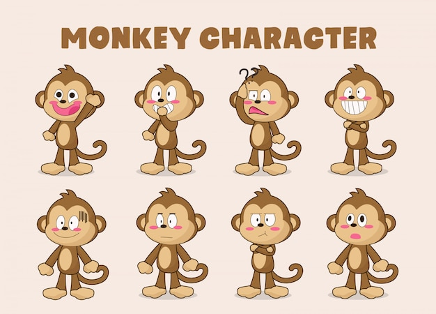 Set of funny monkey cartoon
