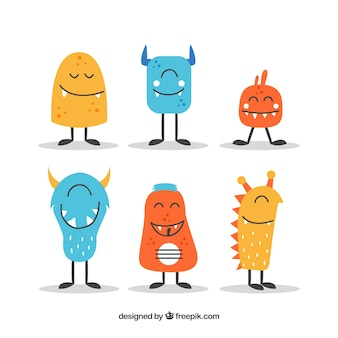 Set of funny monsters in flat style