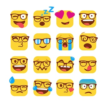Set of funny nerd emojis with glasses