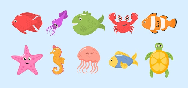 Set of funny ocean animals  on a white background.