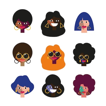 Set of funny people faces of disco 70s disco party people characters