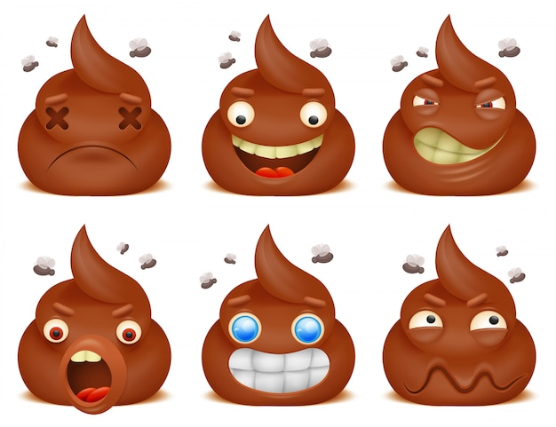 Set of funny poo emoticon cartoon characters.