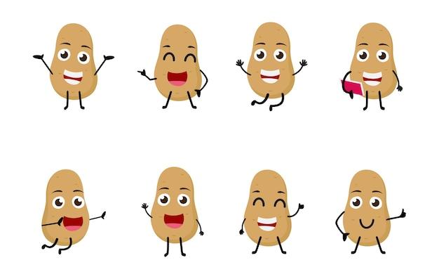 Set of funny potato cartoon character