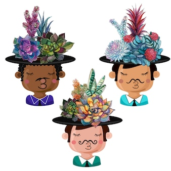 Set of funny pots in the form of boys with bouquets of succulents