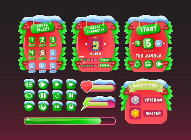Set of funny red christmas board pop up game ui kit