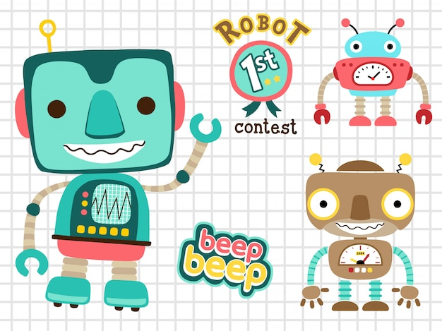 Set of funny robots cartoon