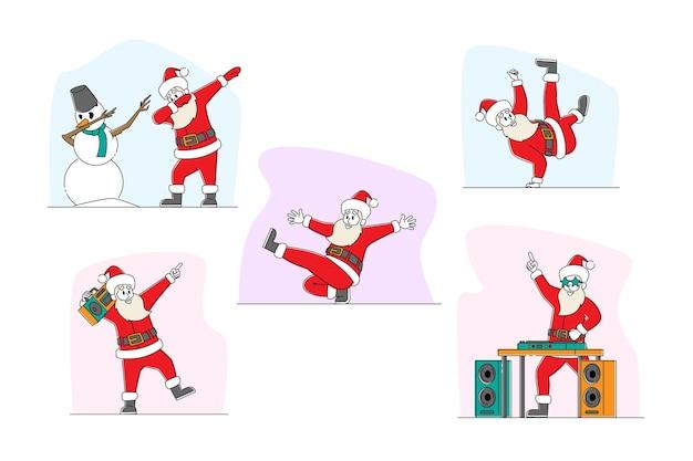Set of funny santa claus and snowman dancing illustration