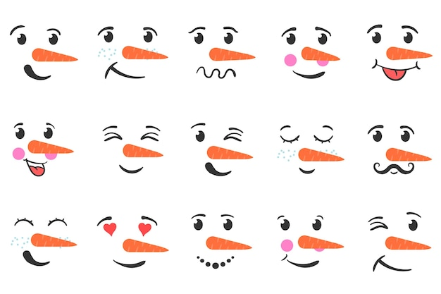 Set of funny snowman faces isolated on a white background. cartoon funny doodle snowman head face with different emotions.