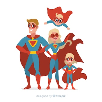 Set of funny superheroes