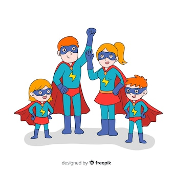 Set of funny superheroes