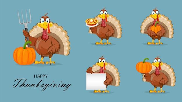 Set of funny thanksgiving turkey in flat design