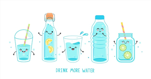Set of funny water characters in bottles and glasses. kawaii smiling full glass,plastic takeaway cup, bottle with lemon, detox with lime, text. hand drawn cute vector. h2o for health.drink more water.