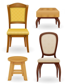 Set of furniture chair stool and pouf vector illustration