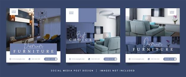 Set of furniture flyer or social media banner