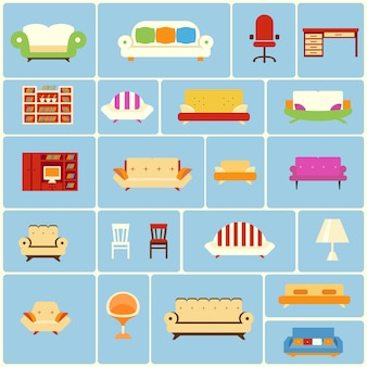 Set of furniture icons