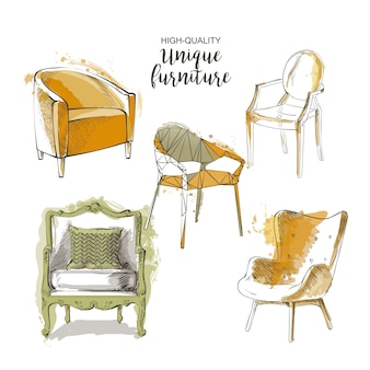 Set of furniture and interior detail chairs vector sketch