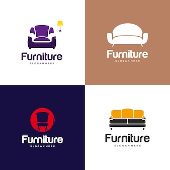 Set of furniture logo design concept. symbol and icon of chairs, sofa, table, and home furnishing