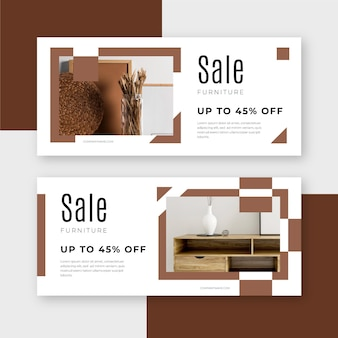 Set of furniture sale banners with photos