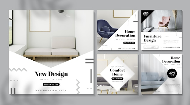 Set of furniture sales posts