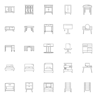 Set furniture vector outline icon