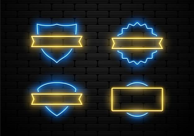 Set of futuristic badge with neon light shape
