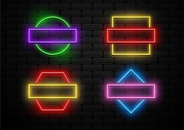 Set of futuristic badges neon light shape
