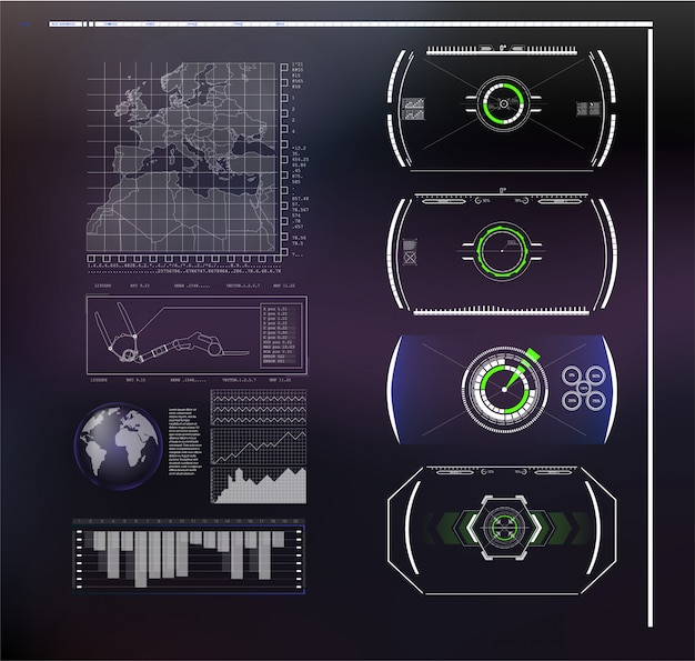 Set of futuristic blue infographics as head-up display. display navigation elements for the web and app. futuristic user interface