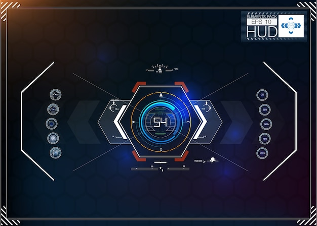 Set of futuristic blue infographics as head-up display. display navigation elements for the web and app.