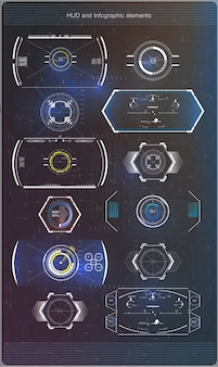 Set of futuristic blue infographics as head-up display.