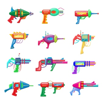Set of futuristic colorful blasters isolated on white