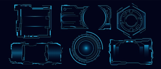 Set of futuristic hi tech hud interface   illustration. cyber hologram dashboard panel