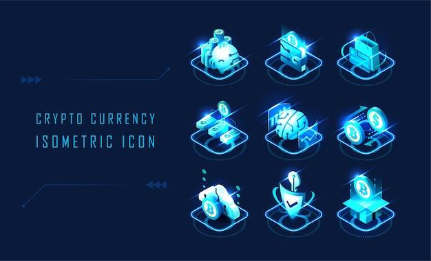 Set of futuristic isometric cryptocurrency symbols design