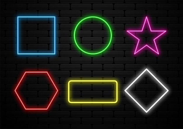 Set of futuristic neon light shape