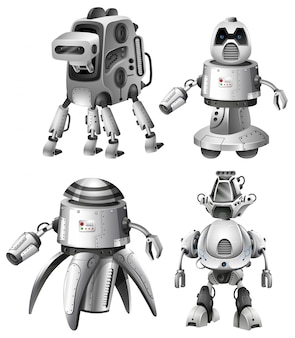 Set of futuristic robots on white